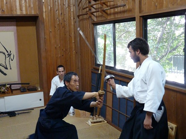 Travail d'escrime avec Kono Sensei